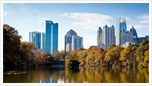 Atlanta skyline overlooking lake